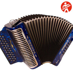 Hohner Corona Ii Xtreme Gcf Sol 34 Button Blue Accordion With Straps And Gig Bag