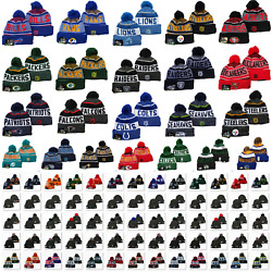 Unisex Embroidered All Teams Logo Winter Warm Beanie Hat Knitted Crochet Pom Cap