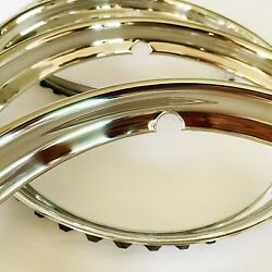 4x Original Style Smooth Early Ford Wheel Trim Rings/ Beauty Rings- Pol S/s- 15