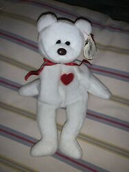 """Ty Beanie Baby """"valentino"""" Bear 1994 Rare With Brown Nose Many Tag Errors"""