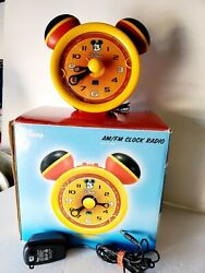 Disney Mickey Mouse Alarm Clock Radio Dcr5500-c Am Fm Collectible Working Red