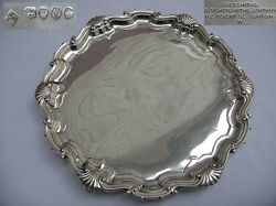 Wonderful Large Victorian 1889 English Sterling Silver Salver Made In London.