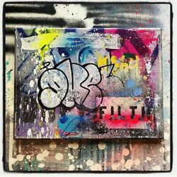 Duel Ris Toile Chassis 31x23cm Graffiti Street Art Obey/cope2/stayhigh149/rd357