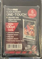 5 Ultra Pro ONE TOUCH MAGNETIC 130PT BLACK BORDER UV Trading Card Case Holders