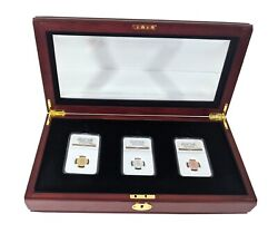 1861 Confederate Cent 3 Coin Set Smithsonian Restrike Private Issue 2011 Gold