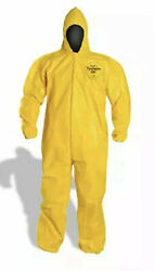 Lot Of 4 Ea Dupont Tychem Tyvek Qc127 Yellow Coverall Chemical Suits W/ Hood Xl