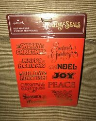 New Sealed Vintage 1980's Hallmark Red Gold Holiday Christmas Seals Stickers