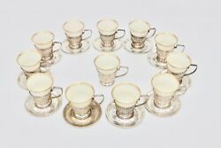 Baker Manchester Co Sterling Silver Reticulated Cup Holders Saucers Lenox Liner