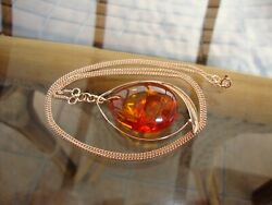 Vintage 14k Russia Rose Gold Dangling Baltic Amber 24 Inches Necklace 13.3 Grams