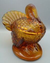 Amber Glass Turkey Covered Candy Dish