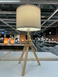 Ikea Lauters Table Lamp, Natural Ash/white - New