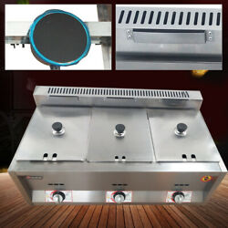 New Commercial Countertop Gas Fryer 6l3 Deep Fryer Kitchen Cooker Stainless Us