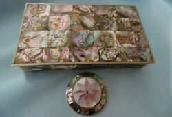Vintage Abalone Alpaca Silver Trinket Box And Pin Brooch Lot Mexico - Excellent