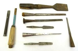 Mixed Antique And Vintage Lot Used Chisels Woodworking Punches Tools Sheffield