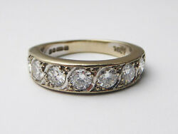 Vintage 18ct White Gold And 1.19ct Diamond Half Eternity Ring Andndash Size N