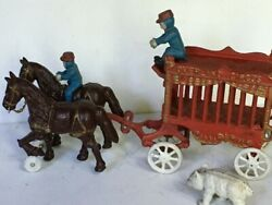 Vintage Cast Iron Overland Circus Horse Drawn Wagon Toy Men Drivers White Bear