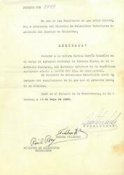 Fidel Castro Signed Authentic Autographed 1960 Document Beckett A30604