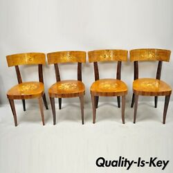 Vintage Italian Sorrento Inlaid Wood Game Table Dining Chairs - Set Of 4