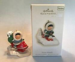 Hallmark Lot Of 2 Frosty Friends Christmas Ornaments 1995 2009 Skis Snowmobile