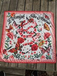 Scarf Vibrant Bright Luxurious Flowers Snake Insects Garden