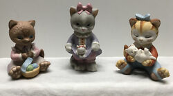 Bronson Cat Kitten Figurines Collectibles 1993, Lot Of 3 All Different