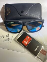 NEW Ray Ban Justin Classic RB4165 622 55 54mm Wayfarer Matte Black Blue Mirror $59.99