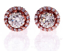 1ct Diamond Stud Earrings 14k Pink Gold Gia Certified Natural Round Cut