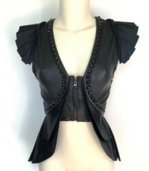 Thomas Wylde Leather Pleated Vest Metallic Studs Silk Lining Steampunk Going Out
