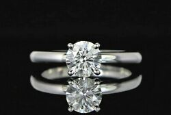 5650 14k White Gold Gia 0.83ct H Si1 Diamond Solitaire Engagement Ring Sz 4.75