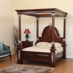 Crystal Sand Canopy Bedstyle Carved Four Poster Bedmahogany Wood.free Del