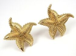 Rare Vintage And Co 18k Yellow Gold Large Textured Starfish Earrings