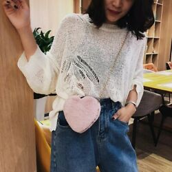 Mini Crossbody Heart Shaped Shoulder Chain Cute Fur Velvet Clutch Evening Bags $36.00