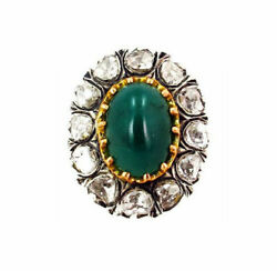18k Gold Emerald Rose Cut Ring 925 Sterling Silver Vintage Sty Jewelry Jp