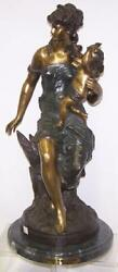 Bronze Sculpture Of Seated Woman With Cupid Signed Mathurin Moreau