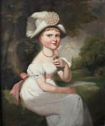 Large Antique Folk 19th Century Oil Portrait Painting Of A Girl C 1830