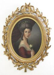 Beautiful Old Master 18th C Oil Portrait Painting Of A Lady With Flower C 1750
