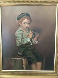 Very Beautiful Signed 19th C Fine Antique Oil Portrait Painting Of A Boy, C 1820