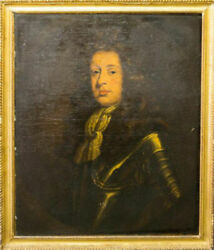 Fine 17th 18th Century Portrait Painting Of A Nobleman In Armour Oil On Canvas
