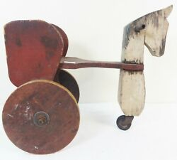 Unusual Antique Carved And Painted Folk Art Child's Ride On Horse And Cart