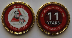 Aa Bill And Bob Pandemic 11 Year Red Rope Edge Sobriety Coin Chip 1 3/4