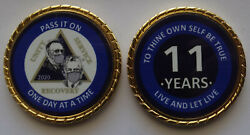 Aa Bill And Bob Pandemic 11 Year Blue Rope Edge Sobriety Coin Chip 1 3/4