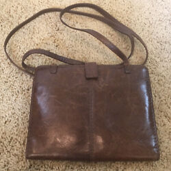 Hobo International Brown Leather Square Crossbody Wallet Button Closure $24.00