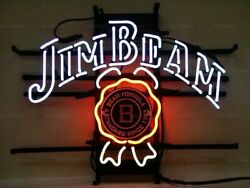 New Jim Beam Whiskey Neon Light Sign Lamp 17x14 Beer Cave Gift Bar Real Glass