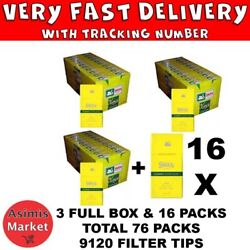 Swan Extra Slim 5.7 Mm Yellow Cigarette Filter Tips 3x Full Box And 18 Packs