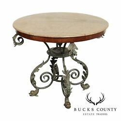 Maitland Smith Renaissance Round Marble Top, Iron And Bronze Base Center Table