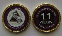 Aa Bill And Bob Pandemic 11 Year Purple Rope Edge Sobriety Coin Chip 1 3/4