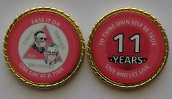 Aa Bill And Bob Pandemic 11 Year Pink Rope Edge Sobriety Coin Chip 1 3/4