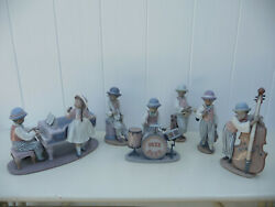 Lladro Figurines Black Legacy Jazz Collection Set Of 6 Band Music