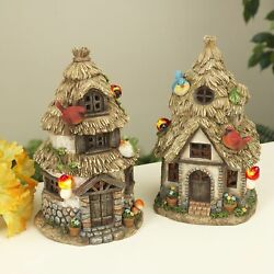 Miniature Fairy Garden Solar Thatched Roof House - Your Choice - Buy 3 Save 5
