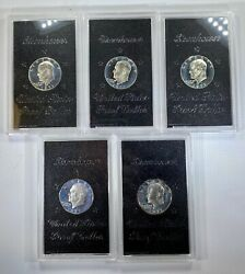 Lot Of 5 1971 S Eisenhower Silver Dollar Proof In Case - Deal Gorgeous